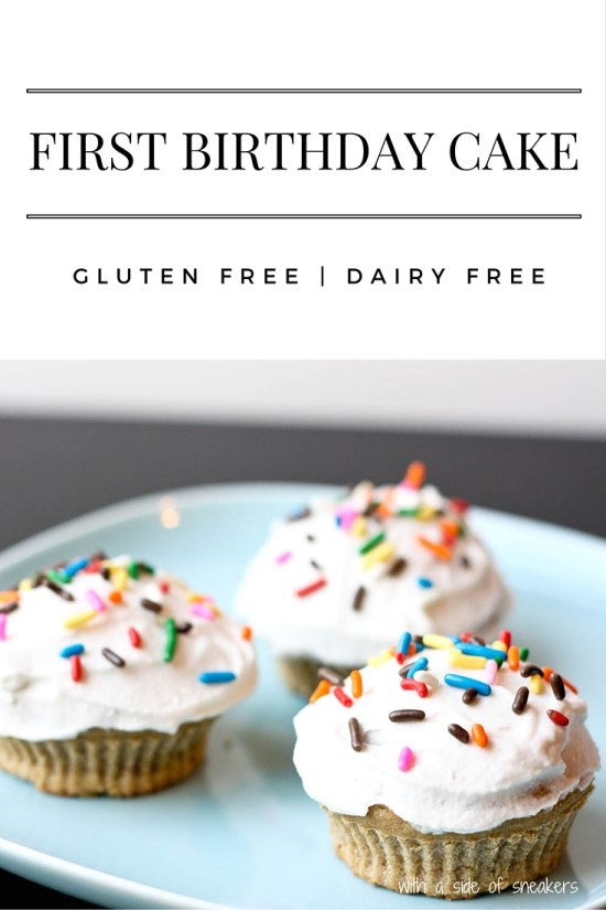 First birthday cake or cupcake recipe that's gluten free, dairy free, soy free, refined sugar free, egg free, and nut free. MSPI friendly.