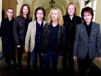 """MACON, GA - OCTOBER 04:  Rock Group STYX L/R: Chuck Panozzo, Ricky Phillips, Todd Sucherman, Tommy Shaw, James """"J.Y."""" Young and Lawrence Gowan. Portrait shoot at Macon City Auditorium on October 4, 2014 in Macon, Georgia.  (Photo by Rick Diamond/Getty Images for STYX)"""