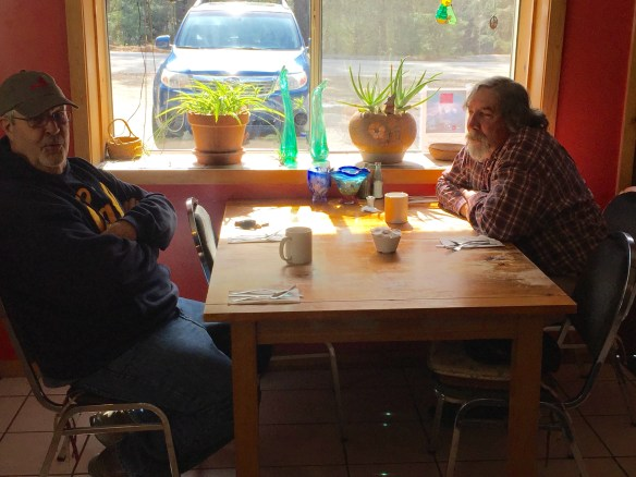 9/28/16 A while back Don Russell and Bill Copren sat down together to discuss the possibility of being friends, however it appears they could not tolerate sitting across from each other hence the odd seating arrangement.