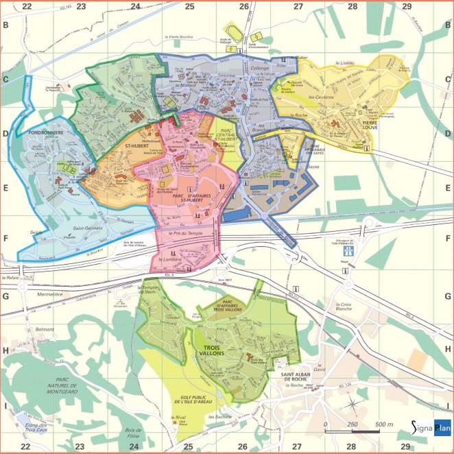 Carte zones bureaux de vote L'Isle d'Abeau (38)