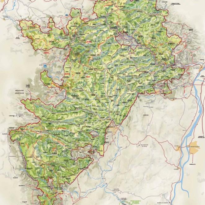 Carte PNR des Monts d'Ardèche (07)