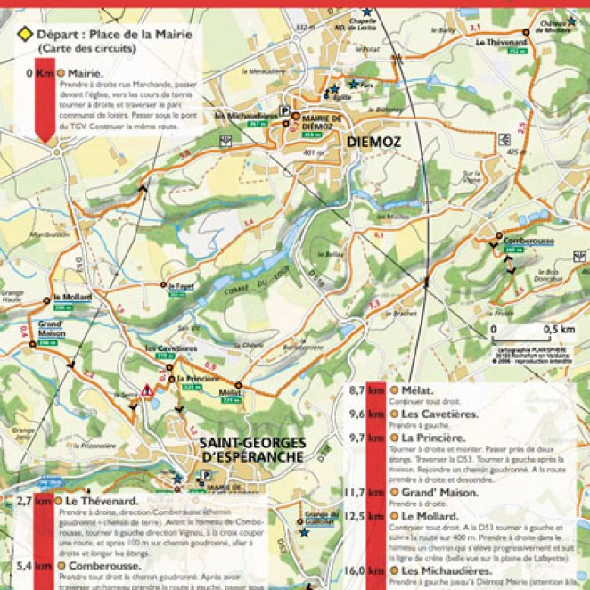 Fiche rando extrait carto-guide Collines Nord Dauphiné (38)