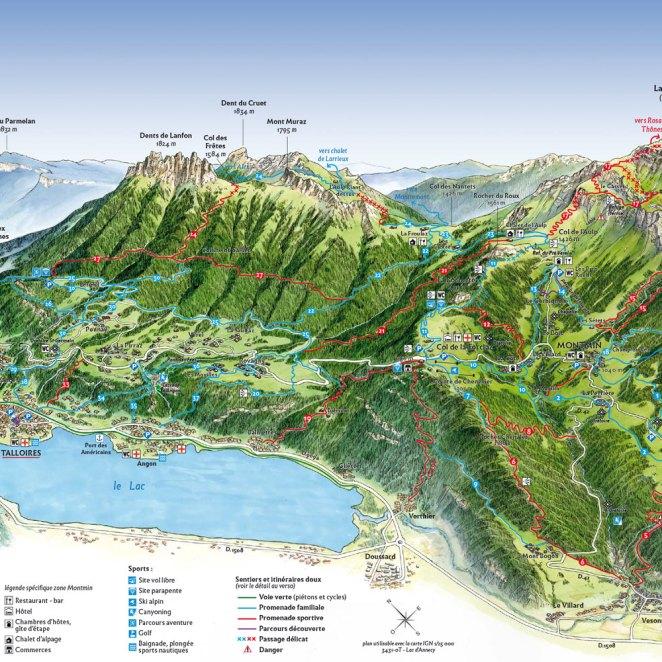 Carte panoramique sentiers Talloire-Montmin (74)