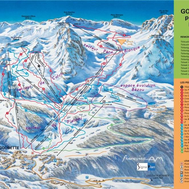 Plan des pistes ski Gourette (64)