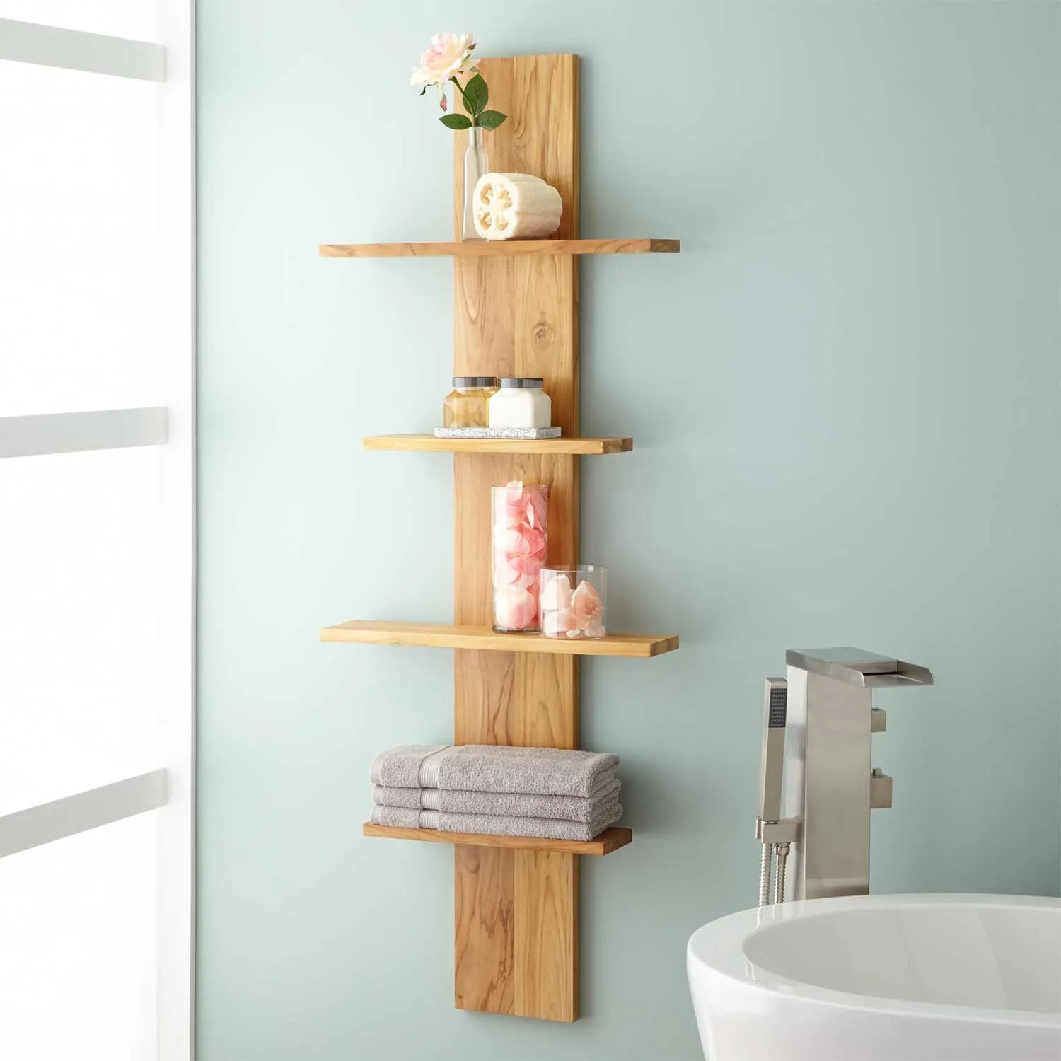 Charmful Wulan Hanging Bathroom Shelf Four Shelves Bathroom Wall Shelf Signature Hardware Bathroom Wall Shelf Bathroom Wall Shelf Over Toilet bathroom Bathroom Wall Shelf