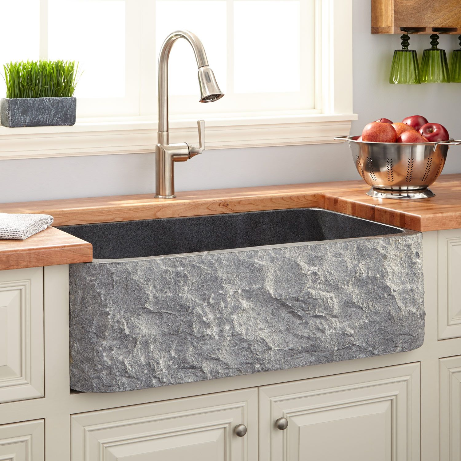stone kitchen sinks farm sinks for kitchens 33 Polished Granite Farmhouse Sink Chiseled Apron Blue Gray