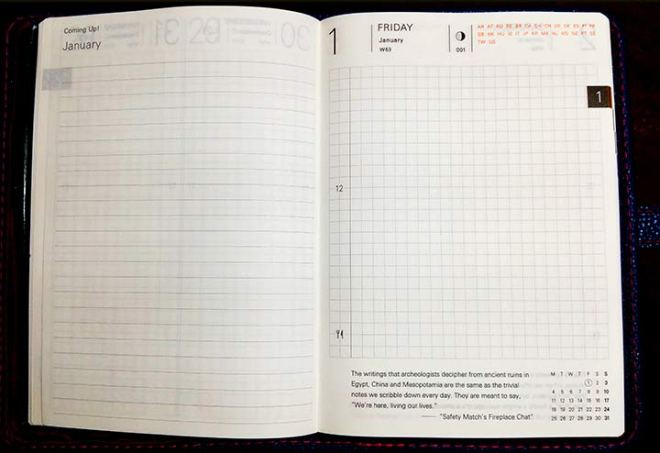 Hobonichi daily layout