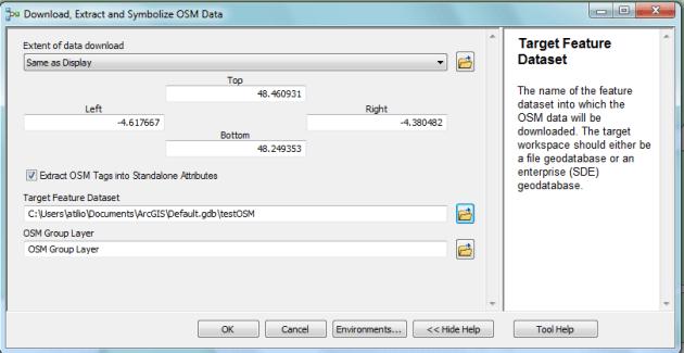 paramétrage de la boite à outils telechargement openstreetmap