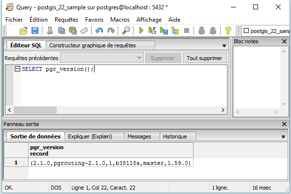vérification de la version de pgrouting
