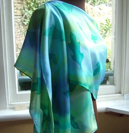 women's clothing silk wrap shawl turquoise leaf handpainted silk scarf fionastolze silkandart