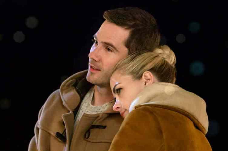 "Luke MacFarlane and Jaimie King in ""Mistletoe Promise."""