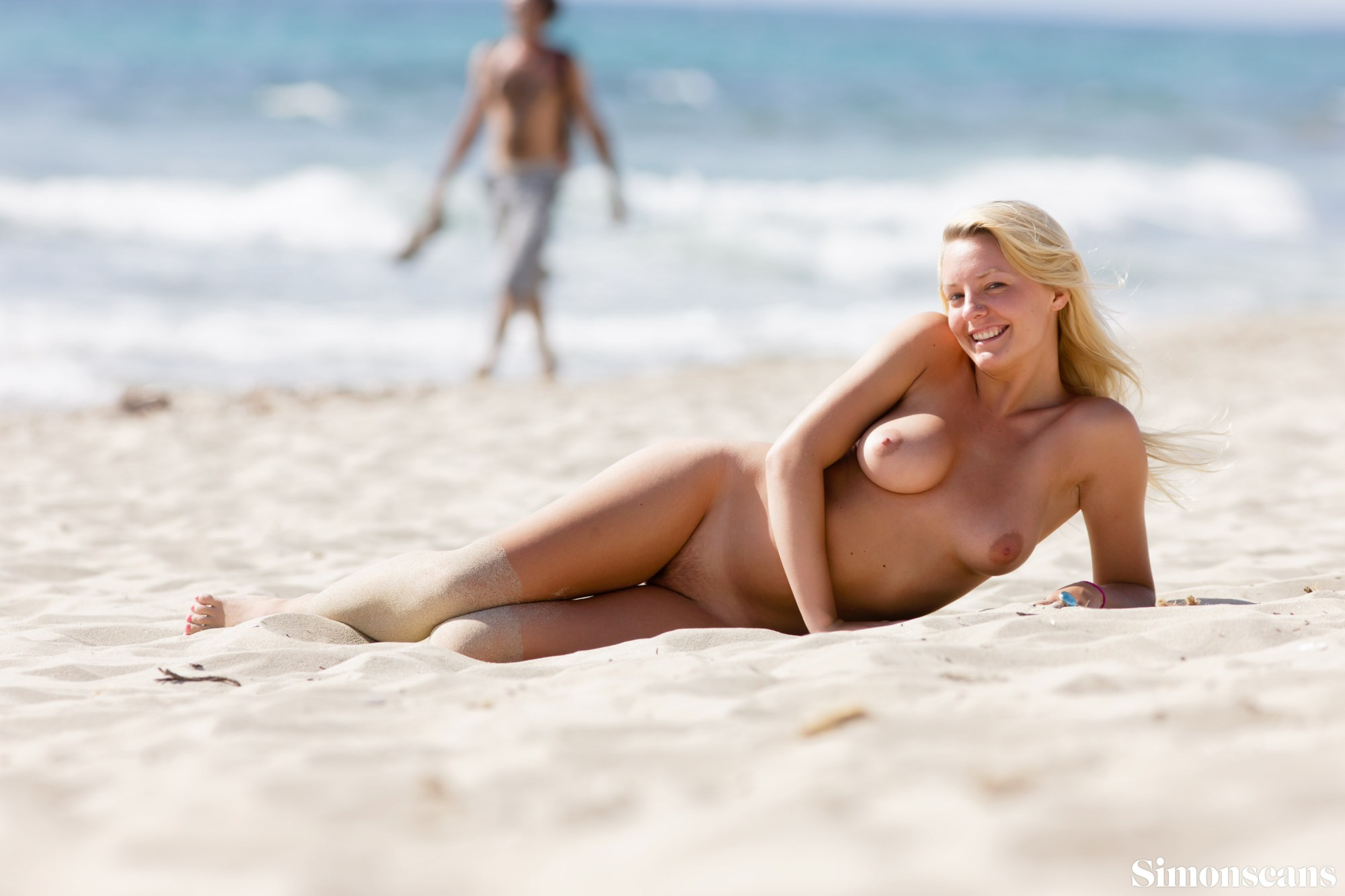 Hayden on the nudist beach