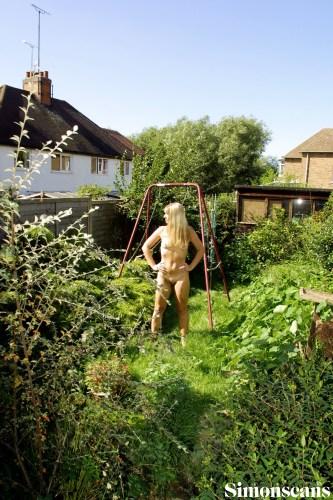 In her own back garden