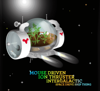 mouse driven ion thruster intergalactic space ship thing