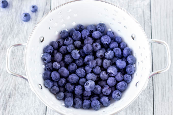 blueberries in strainer