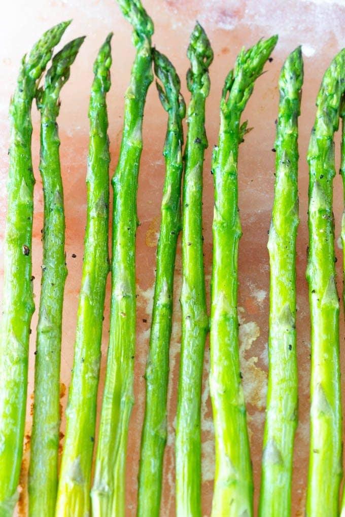 Himalayan Salt Block Asparagus - simplehealthykitchen.com