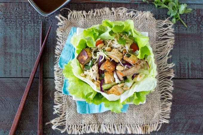 tofu and sesame noodle lettuce cups FG - SimpleHealthyKitchen.com