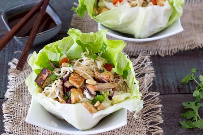 tofu and sesame noodle lettuce cups - SimpleHealthyKitchen.com