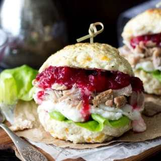 """Stuffing "" Biscuit Turkey, Mashed Potato & Cranberry Sandwich"
