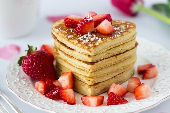 High Protein Oatmeal Pancakes Heart Shaped Valentines Day Featured