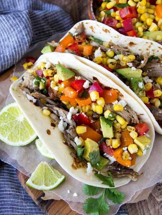 crockpot -pork-carnitas-tacos-corn-avocado- salsa 1