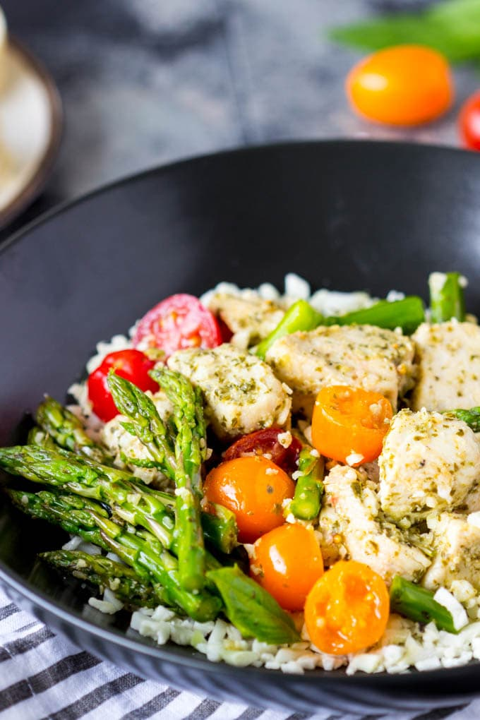 One Pan Chicken Pesto and Veggies