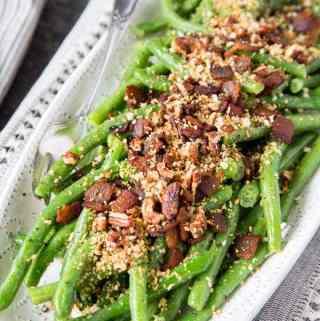 Honey Dijon Green Beans with Bacon + Pecans