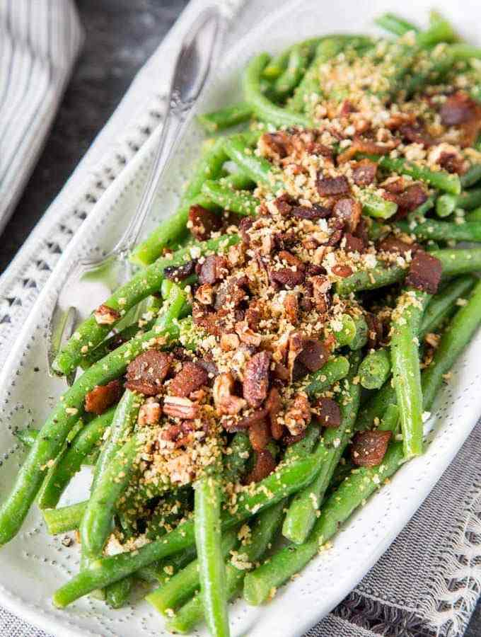 Honey Dijon Green Beans with Bacon and Pecans