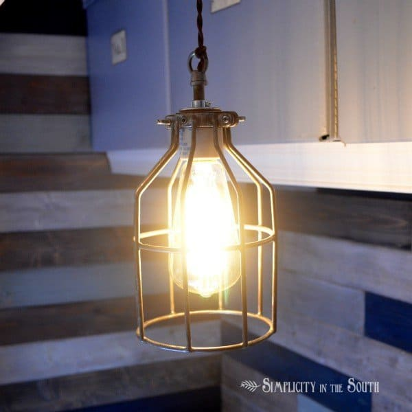 How to make an industrial pendant cage light inspired by Restoration Hardware- by Simplicity In The South