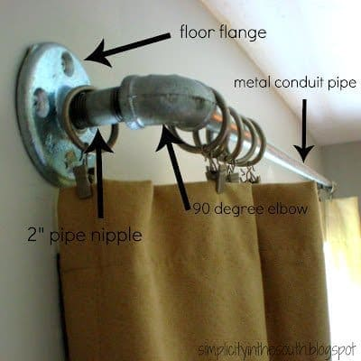 curtain rods made from galvanized plumbing parts