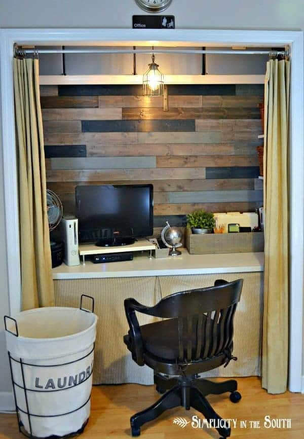 Organized office in a closet by Simplicity In The South