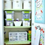 Hall closet organization.