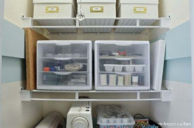Clear storage drawers for a craft closet