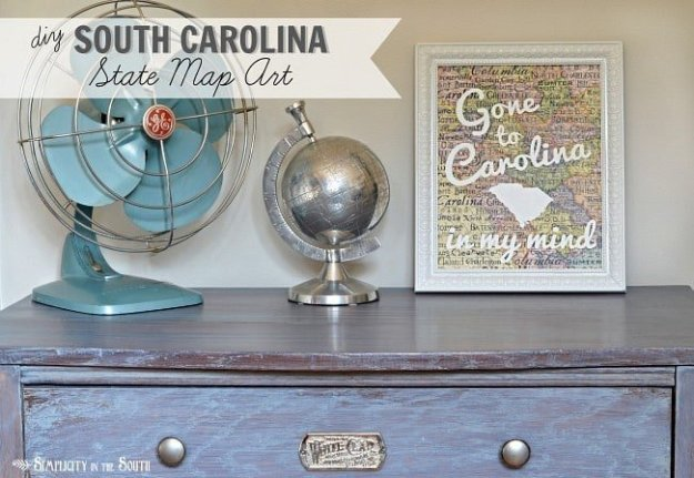 DIY South Carolina map art - Gone to Carolina in my mind