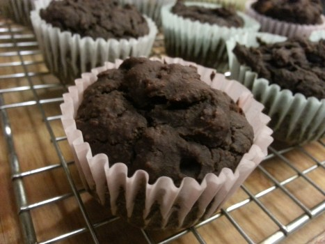 beans and pumpkin puree make these chocolate muffins moist and delicious.