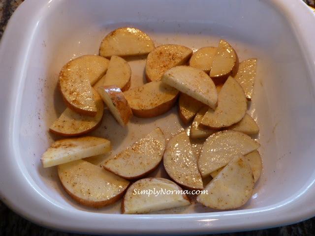 Prepare sweet potatoes then bake