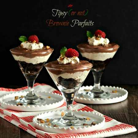 Tipsy (or not) Brownie Parfaits. Layers of Kahlua-soaked brownies, whipped cream with chocolate toffee & chocolate pudding. An easy & elegant dessert. Simply Sated