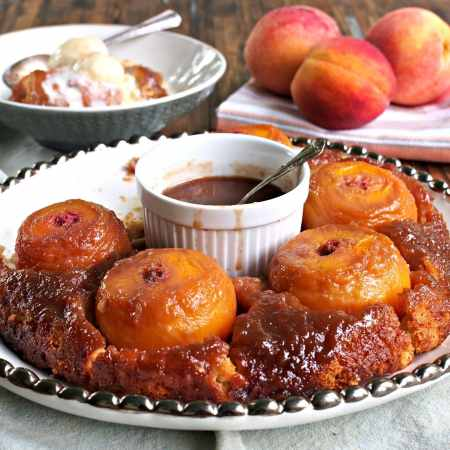 Peach Puzzle is no ordinary cobbler. It is magical and extraordinary w/fresh peaches, spices & a butterscotch sauce surrounded with a sweet buttery crust. Simply Sated