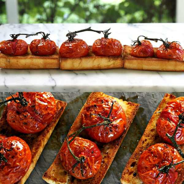 Roasted Tomato Bruschetta. Toasted Italian bread topped w/roasted ...