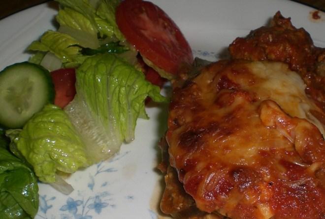 Eggplant Lasagna and Salad