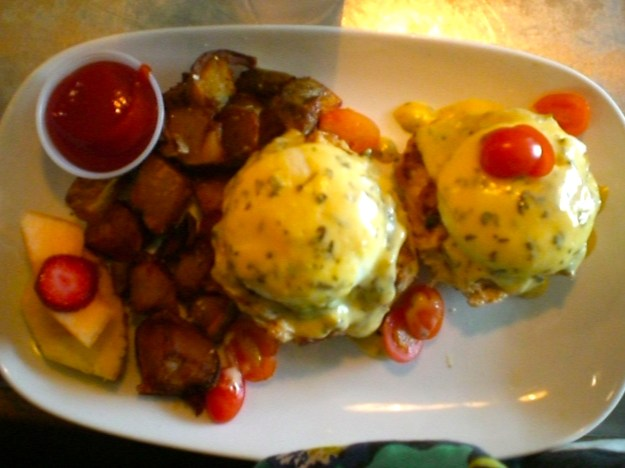 Crab Cake Eggs Benedict on a biscuit with potatoes!