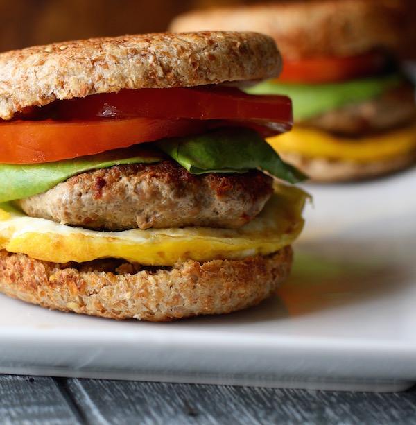 Turkey Sausage Breakfast Sandwich: