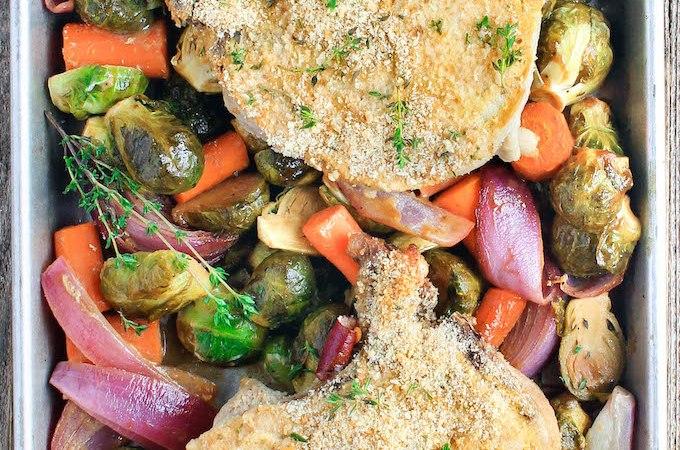 3 Ingredient Sheet Pan Pork Chops with Harvest Veggies