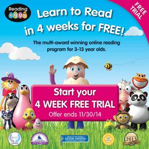 FREE 4 week trial of Reading Eggs