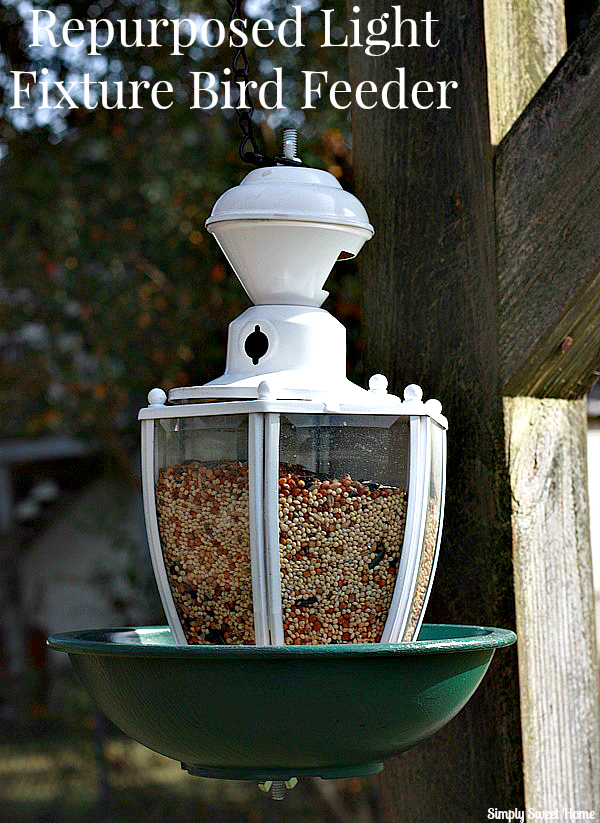 Repurposed Light Fixture Bird Feeder