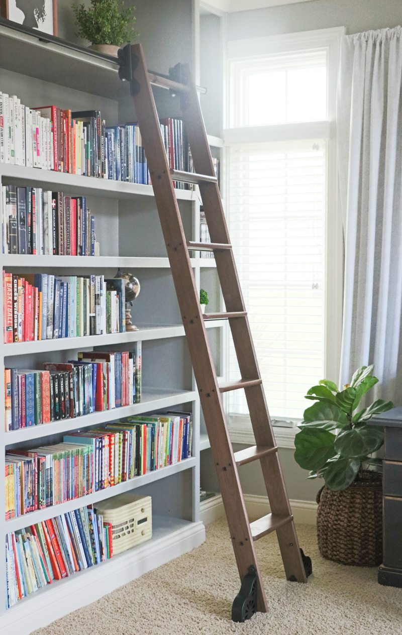Calmly My Husband Hung Rail Me While I Was Running Around Doing Cs Hardware Provided But Hanging Rail Didrequire Rolling Library Ladder Custom Service Hardware Sara houzz 01 Rolling Library Ladder