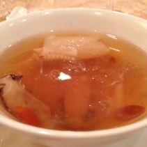 Double boiled bird's nest soup with matsutake mushrooms and bamboo pith