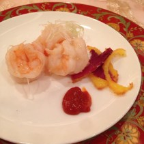 Sautéed prawns with sliced crispy Yunnan ham