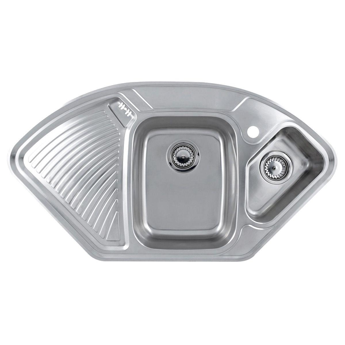corner sinks corner kitchen sinks LAUSANNE 1 5 Bowl Stainless Steel Corner Kitchen Sink