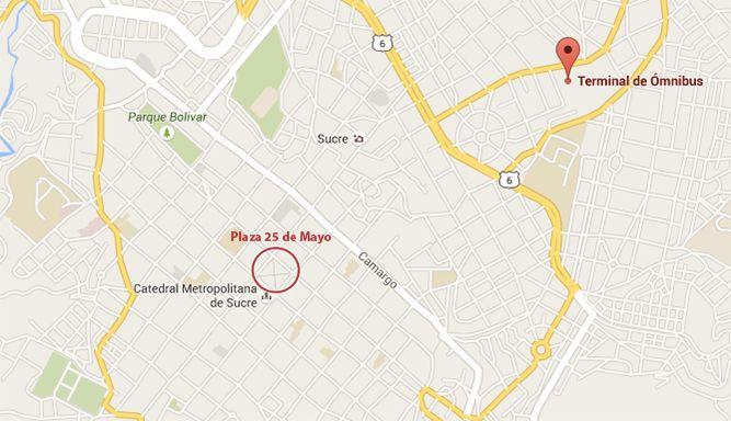Mapa: estación de autobuses y Plaza 25 de mayo (central)